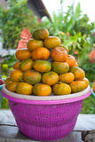 Clementine display. On small streetside stall in Bali royalty free stock photos