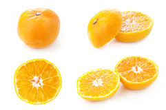 Clementine fruits. Collection of clementine fruits isolated on a white background royalty free stock photo