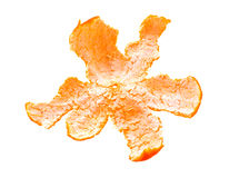 Clementine mandarin peel. On white background Royalty Free Stock Image