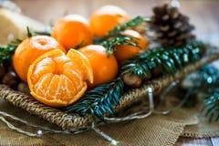 Clementine o mandarini freschi nel canestro Fotografia Stock Libera da Diritti