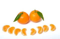 Clementines orange on white. Some Clementines orange on white royalty free stock photo