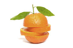 Clementine orange. On water droplets Stock Image