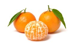 Clementine orange. On a white background royalty free stock photography