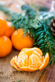 Clementine Tangerine fresca descascada imagem de stock royalty free