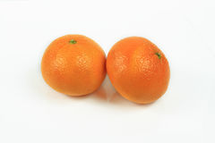 Clementine. Two clementine on white background stock photo