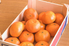 Clementines. Delicious ripe clementine oranges in a wooden crate Stock Images