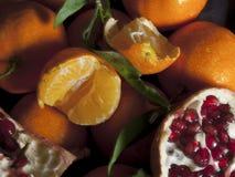 Clementines en granaatappel Vegetarisch voedsel stock foto