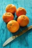 Clementines i nóż obrazy stock
