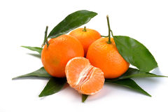 Clementines med segment Royaltyfri Foto