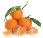 Clementines med segment Royaltyfria Foton