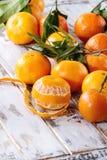 Clementines med sidor Arkivbilder