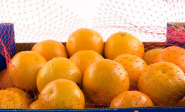 Clementines Open. An open box of clementines Stock Image