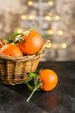 Clementines på bakgrunden för julträd arkivfoto