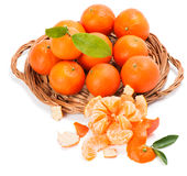 Clementines with segments with leaves Royalty Free Stock Photos