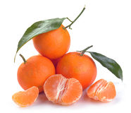Clementines with segments Royalty Free Stock Photo