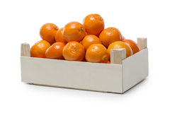 Clementines in a small wooden Box Royalty Free Stock Photos