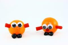 clementines twarze śmieszni dwa zdjęcia royalty free
