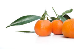 Clementines With Leaf Stock Photo