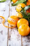 Clementines z liśćmi Fotografia Royalty Free