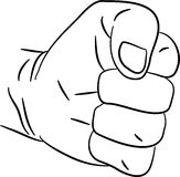 Clenched fist. Simple line drawing of a human hand forming an angry fist gesture Stock Photography