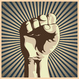 Clenched fist. Vector illustration in retro style of a clenched fist held high in protest Royalty Free Stock Photos