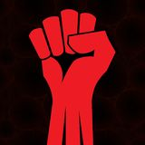 Clenched fist hand. Red clenched fist hand vector. Revolution change illustration Stock Photo
