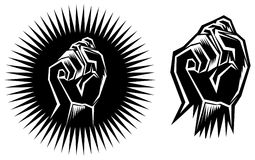 Clenched fist hand. Line art black and white image Royalty Free Stock Photos