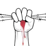 Clenched fist hand vector. Clenched fist hand in blood with barbed wire vector. Victory, revolt concept. Revolution, solidarity, punch, strong, strike, change Stock Images