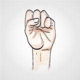 A clenched fist held high in protest,  sketch Royalty Free Stock Image