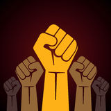 Clenched fist held in protest illustration Stock Image