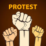 Clenched fist held in protest vector illustration Royalty Free Stock Photo