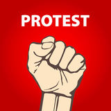 Clenched fist held in protest vector illustration. freedom Royalty Free Stock Photos