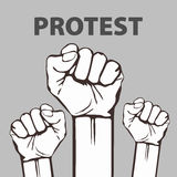 Clenched fist held in protest vector illustration. freedom Royalty Free Stock Image