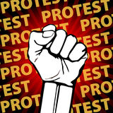 Clenched fist held in protest vector illustration. freedom Royalty Free Stock Images