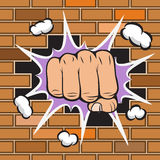 Clenched fist hit the wall emblem. Vector illustration Royalty Free Stock Photo