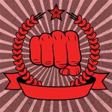 Clenched fist red poster with ribbon Stock Photography