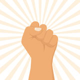 Clenched fist up. Hand male clenched fist raised to the top. Can be used as a winner, revolutionary, a rebel. Show fist. symbol of freedom, force, protest Stock Photos