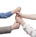 Clenched fists building a tower Royalty Free Stock Image