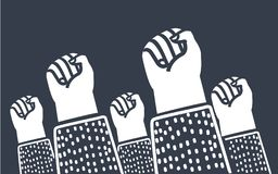 Clenched fists raised in protest. Retro style poster. Protest, strength, freedom, revolution, rebel, revolt concept. Vector cartoon illustration of clenched Royalty Free Stock Photos