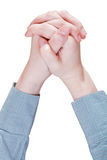 Clenched  hands - hand gesture Stock Image