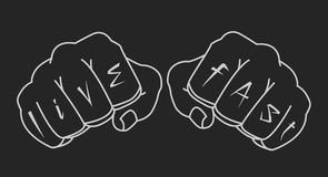 Clenched man fists holding brass-knuckle. Black. Clenched man fists holding brass-knuckle. Punching. Black and white isolated illustration Stock Photo