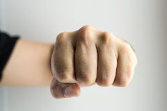 Clenched White Male Fist Boxing Stock Photo