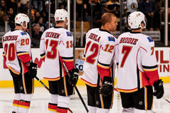 Clencross, Jokinen, Iginla and Brodie, Calgary Flames Stock Photos