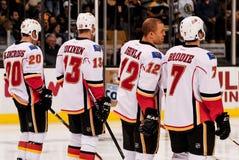 Clencross, Jokinen, Iginla e Brodie, fiamme di Calgary Fotografie Stock