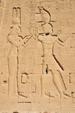 Cleopatra. The pharaoh Cleopatra and her son with Julius Caesar, Caesarion at the ancient Egyptian fertility and love temple of the goddess Hathor at Dendera, in stock images