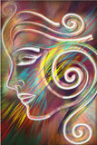 Cleopatra. Abstract Illustration of a face on a bursting bright background Royalty Free Stock Photos