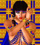 Cleopatra or any Egyptian Woman Pharaoh. Modern digital art fantasy. Royalty Free Stock Photos