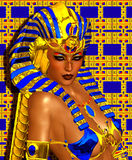 Cleopatra Digital Art Fantasy Set On A Gold And Blue Abstract Background. Stock Photography