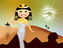 Cleopatra in Egyptian landscape Royalty Free Stock Photos