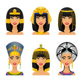 Cleopatra Egyptian Queen. Woman ancient, history and face,  portrait nefertiti, vector illustration Stock Photos